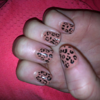Brown cheetah print design on false nails by MadeByMace on Etsy
