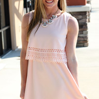 Cut To The Point Dress - Blush