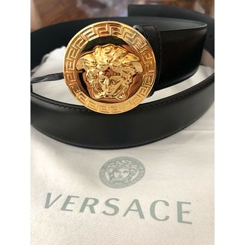 VERSACE Classic Medusa Leather Belt Size 85