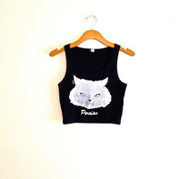 Black and white cat head crop tank top, yoga clothes, hipster crop tops, hipster shirt, teen girl apparel, gift for cat lover, persian cat