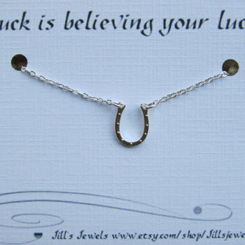 Tiny Horse Shoe Necklace and Friendship Quote Inspirational Card- Bridesmaids Gift - Small Horseshoe - Quote Gift