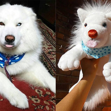 WHITE Wolf plush Swiss SHEPHERD Pomeranian Arctic Fox stuffed dog breeds plush animal soft toy memory pet from Photos handmade Made to ORDER