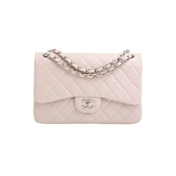 Chanel Baby Pink Quilted Caviar Jumbo Classic 2.55 Double Flap Bag