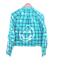 Nirvana Crop Top Smiley Face in Turquoise