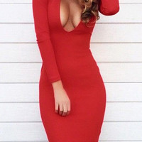 Red Plunging V Neck Dress