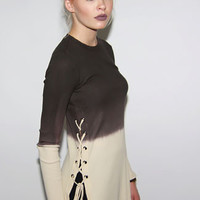Long Sleeve Side Drawstring Brown Ombre Ribbed Sweater