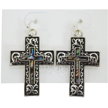 Vintage Old Cross Design Double Cross Accent Earrings