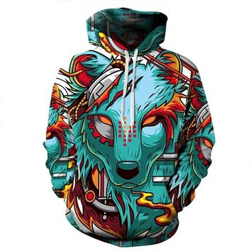 Hoodies Men New Fashion Sweatshirt Hoodies 3D wild Wolf  Print New Coats Casual Sweatshirt Sportwear Tops New