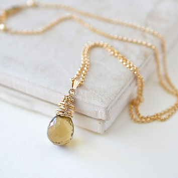 Brown Gemstone Necklace, Whiskey Quartz Pendant Gold Fill, Valentines Day Jewelry Gifts, 18 Inch