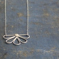 Handformed Sterling Silver Petals on Chain Necklace