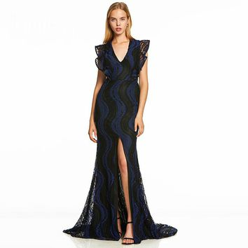 Split front evening dress dark royal blue cap sleeves floor length gown women v neck formal long mermaid evening dresses