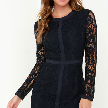 Sweet as Sugar Navy Blue Long Sleeve Lace Dress