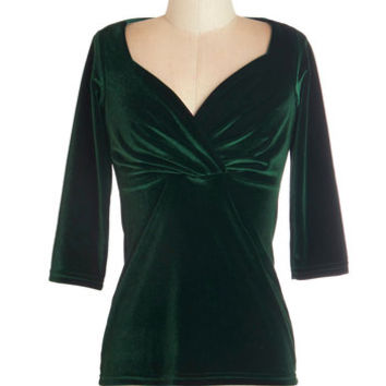ModCloth 3 Top of the Classic in Green Velvet