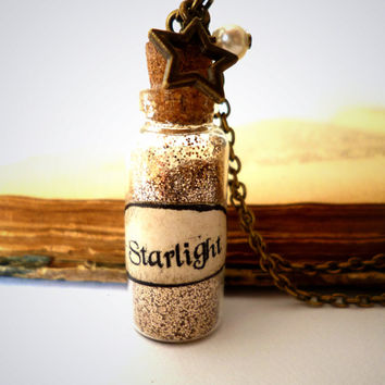 Glass bottle necklace with glitter, Starlight, miniature bottle jewelry by The Neverland