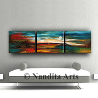 "LARGE LANDSCAPE PAINTING, Decorative Art, 72"" Abstract Painting Turquoise Home & Living Room Wall Art Landscape Art Artist Nandita Albright"