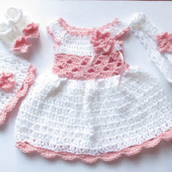 Crochet dress  baby dress set-dress hat shoes headband baby clothes first outfit take home hospital matinee infant frock newborn dress