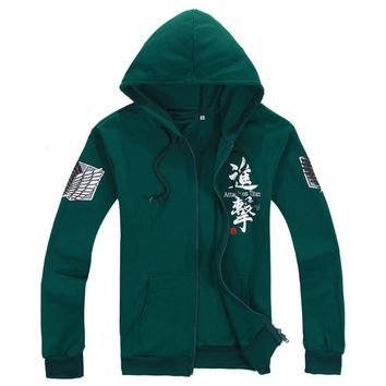 Attack on Titan Jackets Hoodie Cosplay Costume Shingeki no Kyojin Legion Scouting Hooded for Women Men