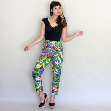 90s HIGH WAISTED Pants | Vintage 1990s ARTISTIC Abstract Print Trousers | xxs