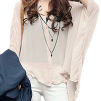 Nude Long Sleeve Tunic Chiffon Blouse