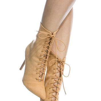Toffee Faux Suede Pointed Toe Lace Up Booties @ Cicihot. Booties spell style, so if you want to show what you're made of, pick up a pair. Have fun experimenting with all we have to offer!