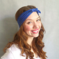 Printed Headwrap Blue Gold Tie Headscarf Hippie Headband Womens Hair Accessories