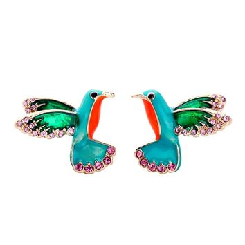 2018 New Arrival Women Personality and lovely birds enamel glaze earrings Stud Earrings