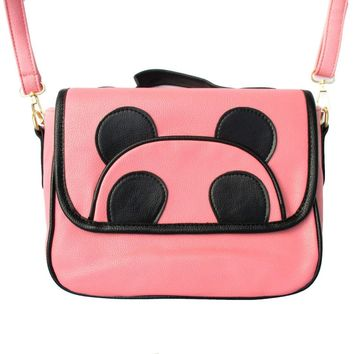 Panda Teddy Bear Animal Themed Cross body Shoulder Bag in Pink for Women