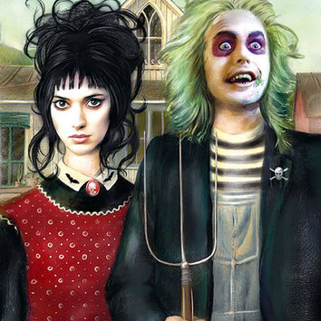 Beetlejuice - American Gothic - Portrait - Illustration - Art Print - Fan Art - Tim Burton - Lydia Deetz - Horror