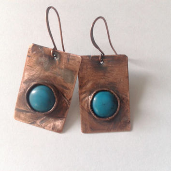 rustic handmade dangle  earrings of  copper and turquoise cabochon