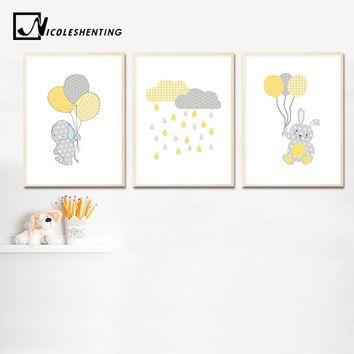 Bunny Elephant Balloon Wall Art Canvas Painting Cartoon Nursery Posters Prints Nordic Kids Decoration Picture Baby Bedroom Decor