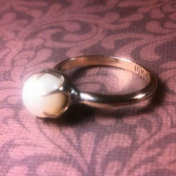 Antique 10K gold filled faux? Pearl Uncas ring. Pronged from the 20's? Size 4.5