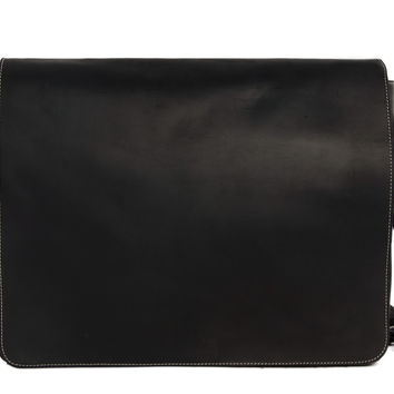 Stockholm Leather Messenger in Napa Black