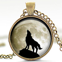Wolf Pendant in Your Choice of Finish Wolf Howling by FrenchHoney