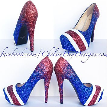 red ombre glitter high heels royal blue striped wedding shoes  number 1