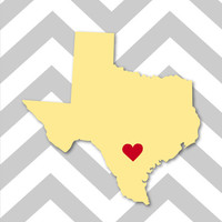 "Chevron Custom State/City Heart Love Print - Wedding Print - California - Texas - 8""x10"" (Available for any State)"