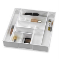 Dial Industries White Plastic Expanding Vanity Drawer Organizer
