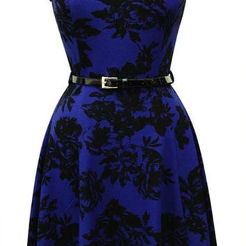 Lace Print A-Line Skater Dress W/ Belt