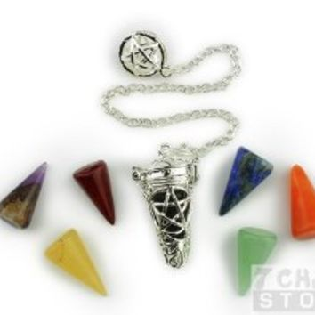 Silver Pentacle Cage Pendulum with Stone Cones