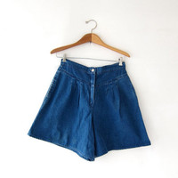 Vintage Jean Shorts. High Waist Shorts. Pleated Denim Shorts. Minimalist.