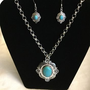 Turquoise Concho Style Silver Necklace with Matching Earrings