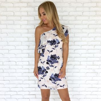 Floral Divide One Shoulder Dress