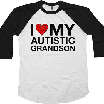 Autism Awareness T Shirt I Love My Autistic Grandson Autism Shirt Puzzle Piece Support Shirt Advocate American Apparel Unisex Raglan - SA589