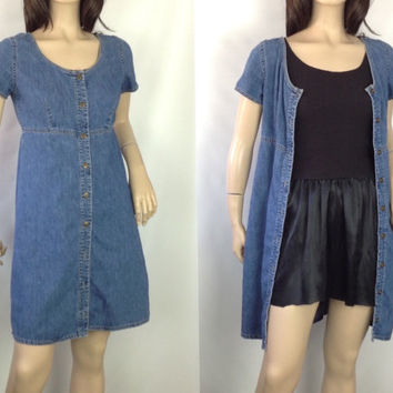 90s Denim Mini Dress Minimalist Denim Dress Empire Waist Dress Short Denim Dress Minimalist Mini Dress Denim Duster Button Front Dress XS S