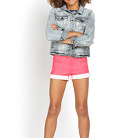 FOREVER 21 GIRLS Neon Denim Shorts (Kids) Neon