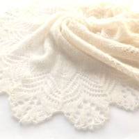 Ecru Bridal Shawl, Bridal Shawl, Lace Wedding Shawl, Wedding Shawl, Ecru Shawl, Womens Knit Shawl, Knit Shawl, Knit Lace