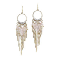 Crystal Ivory Beaded Fringe Earrings
