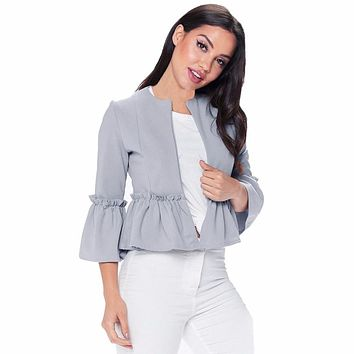 Women Ruffle Frill Long Sleeve Open Front Coat Peplum Pleated Open Stitch Crop Jacket