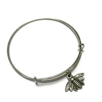 Bee Charm Bracelet - Bee Charm Bangle - Silver Bumble Bee Bracelet - Silver Bumble Bee Bangle - Silver Adjustable Charm Bangle Bracelet
