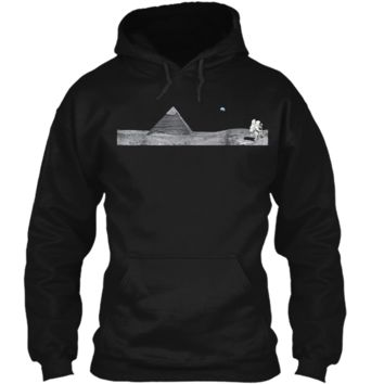 Pyramid on the Moon Conspiracy  - Ancient Alien Tee Pullover Hoodie 8 oz