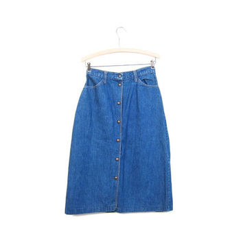 Vintage Button Front Denim Skirt 80s Jean Skirt High Waist Country Knee 1980s Length Pocket Pencil Skirt Womens Small